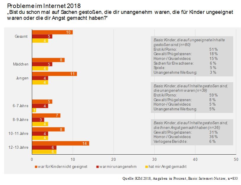 Grafik aus der KIM-Studie 2018. Probleme im Internet