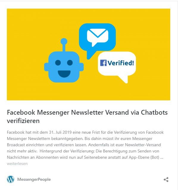 Facebook Messenger Newsletter Versand via CHatbots verifizeren, sonst fällt der Newsletter-Versand weg.