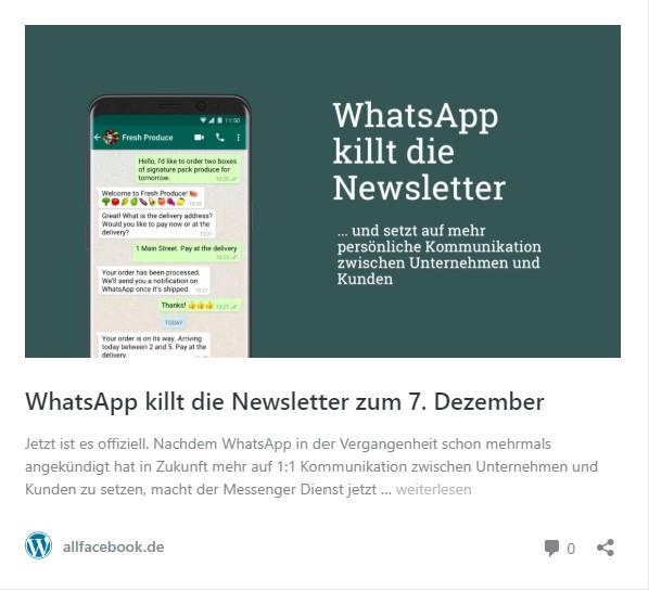 WhatsApp killt die Newsletter zum 7.Dezember und setzt auf mehr persönliche Kommunikation zwischen Unternehmen und Kunden.