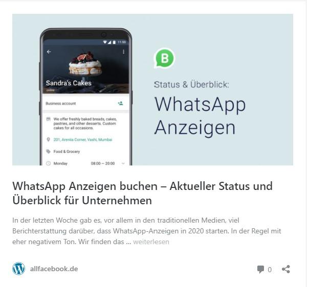 WhatsApp Anzeigen, so ist der aktuelle Stand.