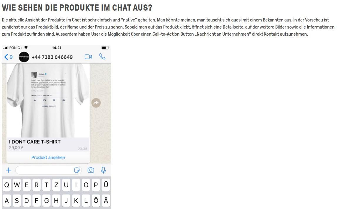 Ein Beispiel wie die Produktwerbung im WhatsApp Chat aussehen könnte.